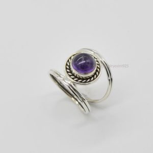 Purple Amethyst Ring, 925 Silver Ring, Women Ring, Round Stone Ring, Gemstone Ring, Amethyst Ring, Ring For Her, Amethyst Jewelry, Tiny Ring | Natural genuine Gemstone rings, simple unique handcrafted gemstone rings. #rings #jewelry #shopping #gift #handmade #fashion #style #affiliate #ad