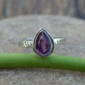 Shop Unique Amethyst Engagement Rings! Natural Amethyst Gemstone Ring, 925 Sterling Silver Ring, February Birthstone Gift Ring, Pear Cut Ring, Purple Amethyst Ring, Fine Gift Ring | Natural genuine Amethyst rings, simple unique handcrafted gemstone rings. #rings #jewelry #shopping #gift #handmade #fashion #style #affiliate #ad