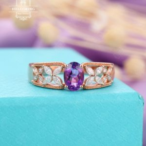 Vintage Oval Amethyst engagement ring,marquise moissanite wedding , Rose Gold ring,Bridal Jewelry Anniversary | Natural genuine Gemstone rings, simple unique alternative gemstone engagement rings. #rings #jewelry #bridal #wedding #jewelryaccessories #engagementrings #weddingideas #affiliate #ad