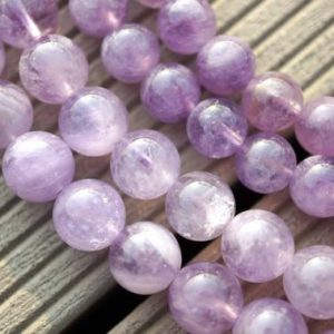 Natural Lavender Amethyst (Madagascar) 8.5-9mm round beads (ETB00073) | Natural genuine beads Gemstone beads for beading and jewelry making.  #jewelry #beads #beadedjewelry #diyjewelry #jewelrymaking #beadstore #beading #affiliate #ad
