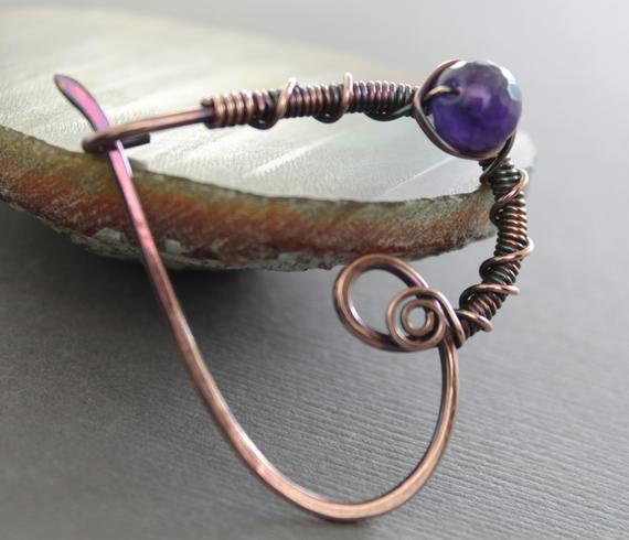 Heart Shawl Pin With Amethyst Stone, Love Romance, Heart Pin, Amethyst Pin, Friendship Shawl Pin, Fibula, Copper Pin, Brooch - Sp080