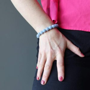 Shop Angelite Bracelets! Angelite Bracelet, Calm Tranquility Blue Gemstone | Natural genuine Angelite bracelets. Buy crystal jewelry, handmade handcrafted artisan jewelry for women.  Unique handmade gift ideas. #jewelry #beadedbracelets #beadedjewelry #gift #shopping #handmadejewelry #fashion #style #product #bracelets #affiliate #ad
