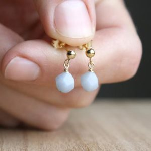 Shop Angelite Earrings! Angelite Stud Earrings Gold . Natural Stone Earrings Dangle Posts . Small Gemstone Studs Gold Filled | Natural genuine Angelite earrings. Buy crystal jewelry, handmade handcrafted artisan jewelry for women.  Unique handmade gift ideas. #jewelry #beadedearrings #beadedjewelry #gift #shopping #handmadejewelry #fashion #style #product #earrings #affiliate #ad