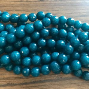 Shop Angelite Beads! angelite faceted round 10mm gemstone Bead -15.5 inch strand | Natural genuine faceted Angelite beads for beading and jewelry making.  #jewelry #beads #beadedjewelry #diyjewelry #jewelrymaking #beadstore #beading #affiliate #ad