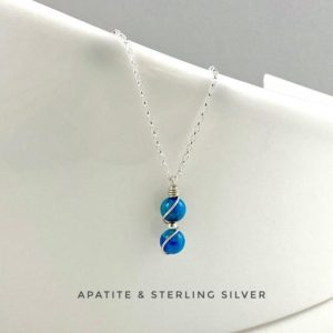 Shop Apatite Necklaces! Apatite, Dainty Blue Apatite Necklace, Sterling Silver, Crystal necklace | Natural genuine Apatite necklaces. Buy crystal jewelry, handmade handcrafted artisan jewelry for women.  Unique handmade gift ideas. #jewelry #beadednecklaces #beadedjewelry #gift #shopping #handmadejewelry #fashion #style #product #necklaces #affiliate #ad