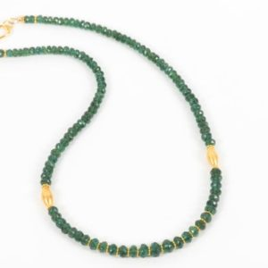 Shop Apatite Necklaces! Green Apatite With Gold Accents Necklace, Natural Deep Green Apatite, Delicate Gemstone Choker | Natural genuine Apatite necklaces. Buy crystal jewelry, handmade handcrafted artisan jewelry for women.  Unique handmade gift ideas. #jewelry #beadednecklaces #beadedjewelry #gift #shopping #handmadejewelry #fashion #style #product #necklaces #affiliate #ad