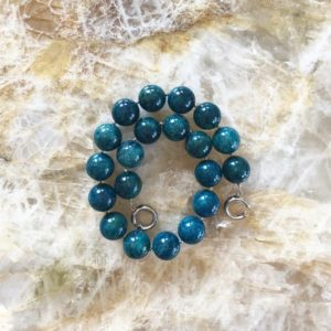 Shop Apatite Necklaces! Teal Blue Apatite 20mm Round Beaded Statement Necklace with Interlocking Ring Clasp | Natural genuine Apatite necklaces. Buy crystal jewelry, handmade handcrafted artisan jewelry for women.  Unique handmade gift ideas. #jewelry #beadednecklaces #beadedjewelry #gift #shopping #handmadejewelry #fashion #style #product #necklaces #affiliate #ad
