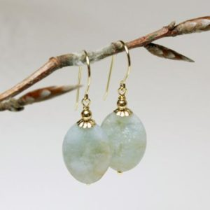Shop Aquamarine Earrings! Aquamarine Gold Filled Earrings natural blue gemstone oval dangle drops, boho luxe statement March birthstone mothers day gift for her 5406 | Natural genuine Aquamarine earrings. Buy crystal jewelry, handmade handcrafted artisan jewelry for women.  Unique handmade gift ideas. #jewelry #beadedearrings #beadedjewelry #gift #shopping #handmadejewelry #fashion #style #product #earrings #affiliate #ad