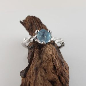 Petite Hand-cut Blue Aquamarine Gemstone, 14k White Gold, Twig Engagement Ring – Raw Gemstone Jewelry Ring – Birthstone – Blue Stone Ring | Natural genuine Array jewelry. Buy handcrafted artisan wedding jewelry.  Unique handmade bridal jewelry gift ideas. #jewelry #beadedjewelry #gift #crystaljewelry #shopping #handmadejewelry #wedding #bridal #jewelry #affiliate #ad