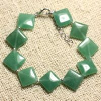 Bracelet 925 Sterling Silver And Stone – Aventurine Green Argyle 15x12mm | Natural genuine Gemstone jewelry. Buy crystal jewelry, handmade handcrafted artisan jewelry for women.  Unique handmade gift ideas. #jewelry #beadedjewelry #beadedjewelry #gift #shopping #handmadejewelry #fashion #style #product #jewelry #affiliate #ad