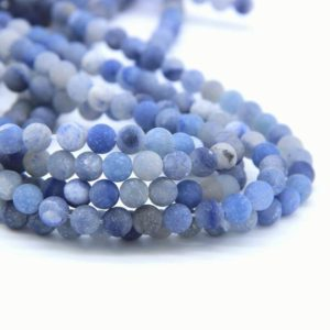Shop Aventurine Bead Shapes! Matte Blue Aventurine Beads 6mm 8mm 10mm Frosted Blue Aventurine Beads Navy Blue Beads Sapphire Blue Gemstone Mala Beads Jewelry Supplies | Natural genuine other-shape Aventurine beads for beading and jewelry making.  #jewelry #beads #beadedjewelry #diyjewelry #jewelrymaking #beadstore #beading #affiliate #ad