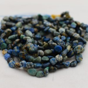 "Shop Azurite Chip & Nugget Beads! High Quality Grade A Natural Azurite Semi-Precious Gemstone Tumbled Stone Nugget Pebble Beads – approx 5mm – 8mm – 15.5"" strand 