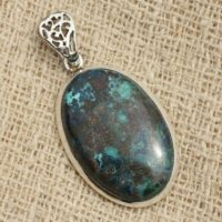 N1 – 925 Sterling Silver Pendant And Stone – Oval Azurite 32x20mm | Natural genuine Gemstone jewelry. Buy crystal jewelry, handmade handcrafted artisan jewelry for women.  Unique handmade gift ideas. #jewelry #beadedjewelry #beadedjewelry #gift #shopping #handmadejewelry #fashion #style #product #jewelry #affiliate #ad