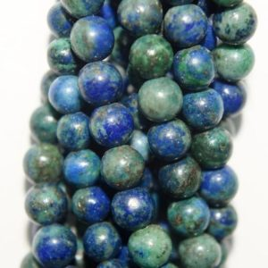 "Shop Azurite Round Beads! Genuine Azurite Malachite Beads – Round 6 Mm Gemstone Beads – Full Strand 15 1 / 2"", 61 Beads, A Quality 