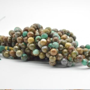 """Shop Azurite Round Beads! High Quality Grade A Natural Green Azurite Semi-precious Gemstone Round Beads -8mm size – 15.5"""" strand 
