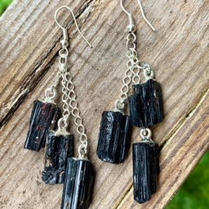Shop Black Tourmaline Earrings! Black Tourmaline earring | Natural genuine Black Tourmaline earrings. Buy crystal jewelry, handmade handcrafted artisan jewelry for women.  Unique handmade gift ideas. #jewelry #beadedearrings #beadedjewelry #gift #shopping #handmadejewelry #fashion #style #product #earrings #affiliate #ad