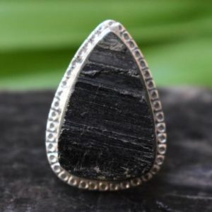 Shop Black Tourmaline Rings! 925 silver natural black tourmaline ring-black tourmaline ring-ring for women,raw uncut gemstone ring-handmade ring | Natural genuine Black Tourmaline rings, simple unique handcrafted gemstone rings. #rings #jewelry #shopping #gift #handmade #fashion #style #affiliate #ad