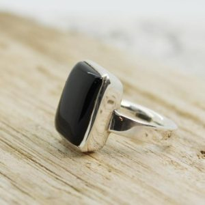 Black Tourmaline ring square shape cab set on 925 sterling silver quality nickel free solid silver jewelry for men or woman