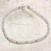 Bracelet 925 Sterling Silver And Stone – Blue Chalcedony Faceted Rondelle 3mm | Natural genuine Gemstone jewelry. Buy crystal jewelry, handmade handcrafted artisan jewelry for women.  Unique handmade gift ideas. #jewelry #beadedjewelry #beadedjewelry #gift #shopping #handmadejewelry #fashion #style #product #jewelry #affiliate #ad