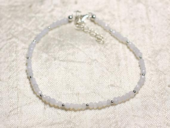 Bracelet 925 Sterling Silver And Stone - Blue Chalcedony Faceted Rondelle 3mm