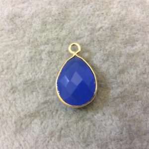Shop Blue Chalcedony Beads! Denim Blue Chalcedony Bezel | Gold Finish Faceted Teardrop Shaped Pendant Component – Measuring 12mm X 16mm – Natural Semi Precious Gemstone | Natural genuine faceted Blue Chalcedony beads for beading and jewelry making.  #jewelry #beads #beadedjewelry #diyjewelry #jewelrymaking #beadstore #beading #affiliate #ad