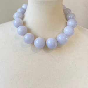 Shop Blue Chalcedony Necklaces! Pastel Blue Chalcedony 25mm Round Beaded Statement Necklace with Interlocking Ring Clasp – One of a Kind | Natural genuine Blue Chalcedony necklaces. Buy crystal jewelry, handmade handcrafted artisan jewelry for women.  Unique handmade gift ideas. #jewelry #beadednecklaces #beadedjewelry #gift #shopping #handmadejewelry #fashion #style #product #necklaces #affiliate #ad