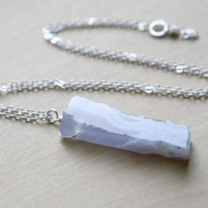 Blue Chalcedony Necklace Silver . Polished Raw Stone Necklace . Negative Energy Protection Necklace Crystal Healing | Natural genuine Gemstone necklaces. Buy crystal jewelry, handmade handcrafted artisan jewelry for women.  Unique handmade gift ideas. #jewelry #beadednecklaces #beadedjewelry #gift #shopping #handmadejewelry #fashion #style #product #necklaces #affiliate #ad
