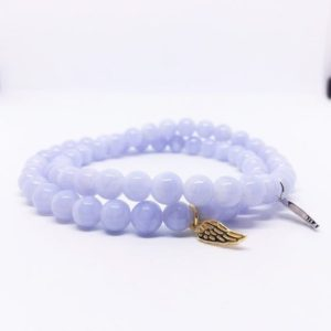 Shop Blue Lace Agate Bracelets! AAA Blue Lace Agate Bracelet, 6mm Stretch Bracelet, Sterling Silver Wing Charm, Blue Jewelry, Confidence, Unique Gifts, valentines day gift | Natural genuine Blue Lace Agate bracelets. Buy crystal jewelry, handmade handcrafted artisan jewelry for women.  Unique handmade gift ideas. #jewelry #beadedbracelets #beadedjewelry #gift #shopping #handmadejewelry #fashion #style #product #bracelets #affiliate #ad