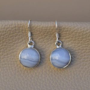 Shop Blue Lace Agate Earrings! Natural Blue Lace Agate Earrings-Handmade Silver Earring-925 Sterling Silver Earrings- Round Blue Lace Agate Earring-Dangle & Drop Earrings | Natural genuine Blue Lace Agate earrings. Buy crystal jewelry, handmade handcrafted artisan jewelry for women.  Unique handmade gift ideas. #jewelry #beadedearrings #beadedjewelry #gift #shopping #handmadejewelry #fashion #style #product #earrings #affiliate #ad