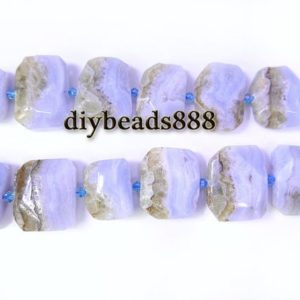 Shop Blue Lace Agate Faceted Beads! Blue Lace Agate,15 inch full strand natural Blue Lace Agate faceted rectangle beads,irregular beads,nugget bead,centre drilled beads 22x28mm | Natural genuine faceted Blue Lace Agate beads for beading and jewelry making.  #jewelry #beads #beadedjewelry #diyjewelry #jewelrymaking #beadstore #beading #affiliate #ad