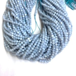 Shop Blue Lace Agate Faceted Beads! Tiny Chalcedony Blue Lace Agate Beads Micro Faceted 2mm 3mm 4mm, Natural Blue Semi Precious Gemstone, Small Blue Spacers, Delicate Blue Bead | Natural genuine faceted Blue Lace Agate beads for beading and jewelry making.  #jewelry #beads #beadedjewelry #diyjewelry #jewelrymaking #beadstore #beading #affiliate #ad