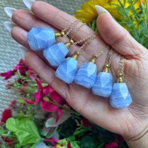 Shop Blue Lace Agate Necklaces! ONE Blue Lace Agate Essential Oil Bottle Necklace with 14k Gold Plated Chain from Namibia – Soothing – Throat Chakra, Calming Stone No.123 | Natural genuine Blue Lace Agate necklaces. Buy crystal jewelry, handmade handcrafted artisan jewelry for women.  Unique handmade gift ideas. #jewelry #beadednecklaces #beadedjewelry #gift #shopping #handmadejewelry #fashion #style #product #necklaces #affiliate #ad