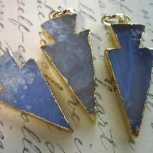 AGATE Arrowhead, BLUE LACE Agate Arrow Head Pendant Charms, 30-40 mm, Gold Electroplated Bail, wholesale, ap10.5 ap10.4 | Natural genuine Gemstone jewelry. Buy crystal jewelry, handmade handcrafted artisan jewelry for women.  Unique handmade gift ideas. #jewelry #beadedjewelry #beadedjewelry #gift #shopping #handmadejewelry #fashion #style #product #jewelry #affiliate #ad