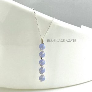 Shop Blue Lace Agate Pendants! Blue Lace Agate Necklace, 925 Sterling Silver, Long Pendant | Natural genuine Blue Lace Agate pendants. Buy crystal jewelry, handmade handcrafted artisan jewelry for women.  Unique handmade gift ideas. #jewelry #beadedpendants #beadedjewelry #gift #shopping #handmadejewelry #fashion #style #product #pendants #affiliate #ad