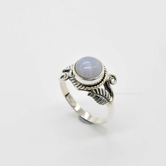 Blue Lace Agate Ring | 925 Sterling Silver Rings | 8mm Round Blue Lace Agate Ring | Women Rings | Mens Agate Ring | Blue Agate Ring
