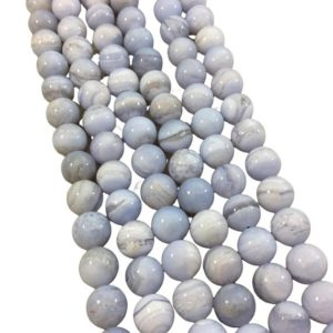 """Shop Blue Lace Agate Round Beads! 10mm Natural Glossy Banded Blue Lace Agate Round / ball Beads – Sold By 15"""" Strands (approx. 39 Beads) – Natural Semi-precious Gemstone   Natural genuine round Blue Lace Agate beads for beading and jewelry making.  #jewelry #beads #beadedjewelry #diyjewelry #jewelrymaking #beadstore #beading #affiliate #ad"""