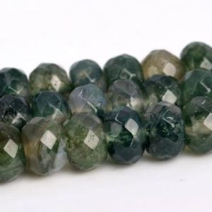 Shop Moss Agate Beads! Botanical Moss Agate Beads Grade AAA Genuine Natural Gemstone Faceted Rondelle Loose Beads 6x4MM 8x5MM Bulk Lot Options | Natural genuine beads Moss Agate beads for beading and jewelry making.  #jewelry #beads #beadedjewelry #diyjewelry #jewelrymaking #beadstore #beading #affiliate #ad