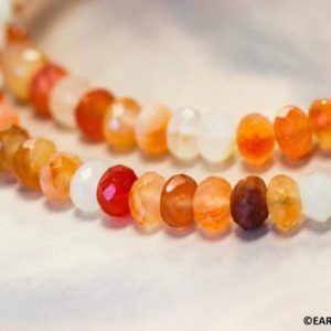 """Shop Carnelian Faceted Beads! M/ Natural Carnelian 8mm/ 10mm Faceted Rondelle beads 16"""" strand Mixed red/orange/white Shade varies Nice facets for jewelry making 