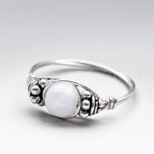 Celestite Crystal Bali Sterling Silver Wire Wrapped Gemstone BEAD Ring – Made to Order, Ships Fast! | Natural genuine Gemstone rings, simple unique handcrafted gemstone rings. #rings #jewelry #shopping #gift #handmade #fashion #style #affiliate #ad
