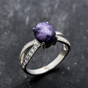Shop Charoite Rings! Charoite Ring, Natural Charoite, Vintage Ring, Vintage Silver Ring, Scorpio Birthstone, Purple Ring, Charoite, Solid Silver Ring | Natural genuine Charoite rings, simple unique handcrafted gemstone rings. #rings #jewelry #shopping #gift #handmade #fashion #style #affiliate #ad
