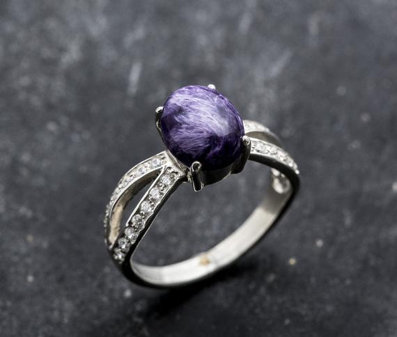 Charoite Ring, Natural Charoite, Vintage Ring, Vintage Silver Ring, Scorpio Birthstone, Purple Ring, Charoite, Solid Silver Ring