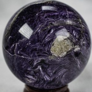 """Shop Charoite Stones & Crystals! Charoite Sphere 1.8"""" or 45mm in diameter and weighs 122 grams from Russia A+++ 