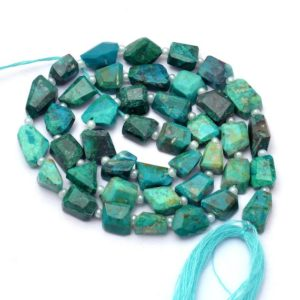 Natural AAA+ Chrysocolla Gemstone 6mm-8mm Faceted Tumbled Beads | Chrysocolla Semi Precious Gemstone Step Cut Nugget Beads | 14inch Strand | Natural genuine chip Chrysocolla beads for beading and jewelry making.  #jewelry #beads #beadedjewelry #diyjewelry #jewelrymaking #beadstore #beading #affiliate #ad