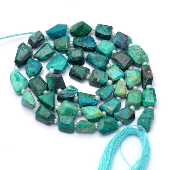 Natural Aaa+ Chrysocolla Gemstone 6mm-8mm Faceted Tumbled Beads | Chrysocolla Semi Precious Gemstone Step Cut Nugget Beads | 14inch Strand