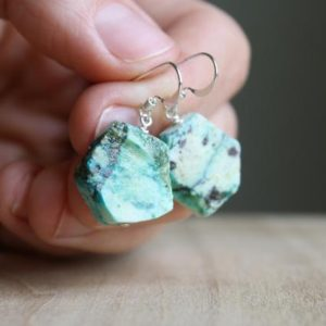 Shop Chrysocolla Earrings! Chrysocolla Earrings . Natural Stone Earrings Dangle . Healing Crystal Earrings Sterling Silver | Natural genuine Chrysocolla earrings. Buy crystal jewelry, handmade handcrafted artisan jewelry for women.  Unique handmade gift ideas. #jewelry #beadedearrings #beadedjewelry #gift #shopping #handmadejewelry #fashion #style #product #earrings #affiliate #ad