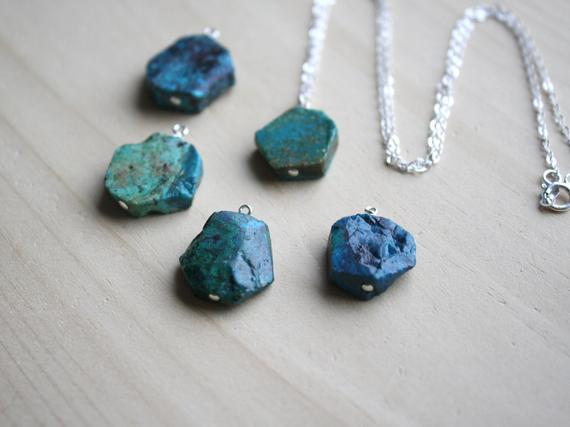 Chrysocolla Necklace . Raw Crystal Necklace Silver . Healing Crystal Necklace Gift For Wife . Chrysocolla Pendant Necklace