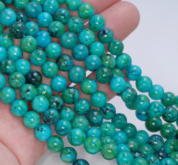 8mm Chrysocolla Gemstone Round Loose Beads 15.5 Inch Full Strand Lot 1, 2, 6, 12 And 50 (90143252-b61)