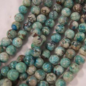 Shop Chrysocolla Round Beads! Chrysocolla Round Shaped Natural Gemstone Bead–8mm 10mm 12mm~ -15.5 inch strand- | Natural genuine round Chrysocolla beads for beading and jewelry making.  #jewelry #beads #beadedjewelry #diyjewelry #jewelrymaking #beadstore #beading #affiliate #ad