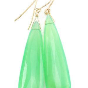 Shop Chrysoprase Earrings! Chrysoprase Earrings Sterling Silver Or 14k Solid Gold Or Filled Faceted Large Heart Teardrop Apple Green Chalcedony Classic Natural Drops | Natural genuine Chrysoprase earrings. Buy crystal jewelry, handmade handcrafted artisan jewelry for women.  Unique handmade gift ideas. #jewelry #beadedearrings #beadedjewelry #gift #shopping #handmadejewelry #fashion #style #product #earrings #affiliate #ad