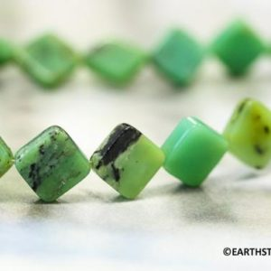 Shop Chrysoprase Bead Shapes! M/ Chrysoprase 8x8mm Square Diamond loose Beads Length 15.5 inches Long. About 40pc  Bright green gemstone diamond shaped beads | Natural genuine other-shape Chrysoprase beads for beading and jewelry making.  #jewelry #beads #beadedjewelry #diyjewelry #jewelrymaking #beadstore #beading #affiliate #ad